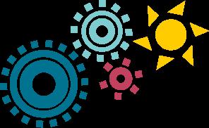 Rouages de mécanisme, bleu, vert, jaune et rose