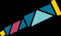 Longue vue composée de plusieurs formes géométriques bleu, jaune, rose et verte